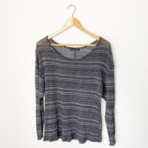 Brandy Melville | Gray Striped Knitted Sweater |OS